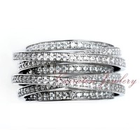 Wholesale High Quality Full Zircon Diamond Real 925 Sterling Silver Ring