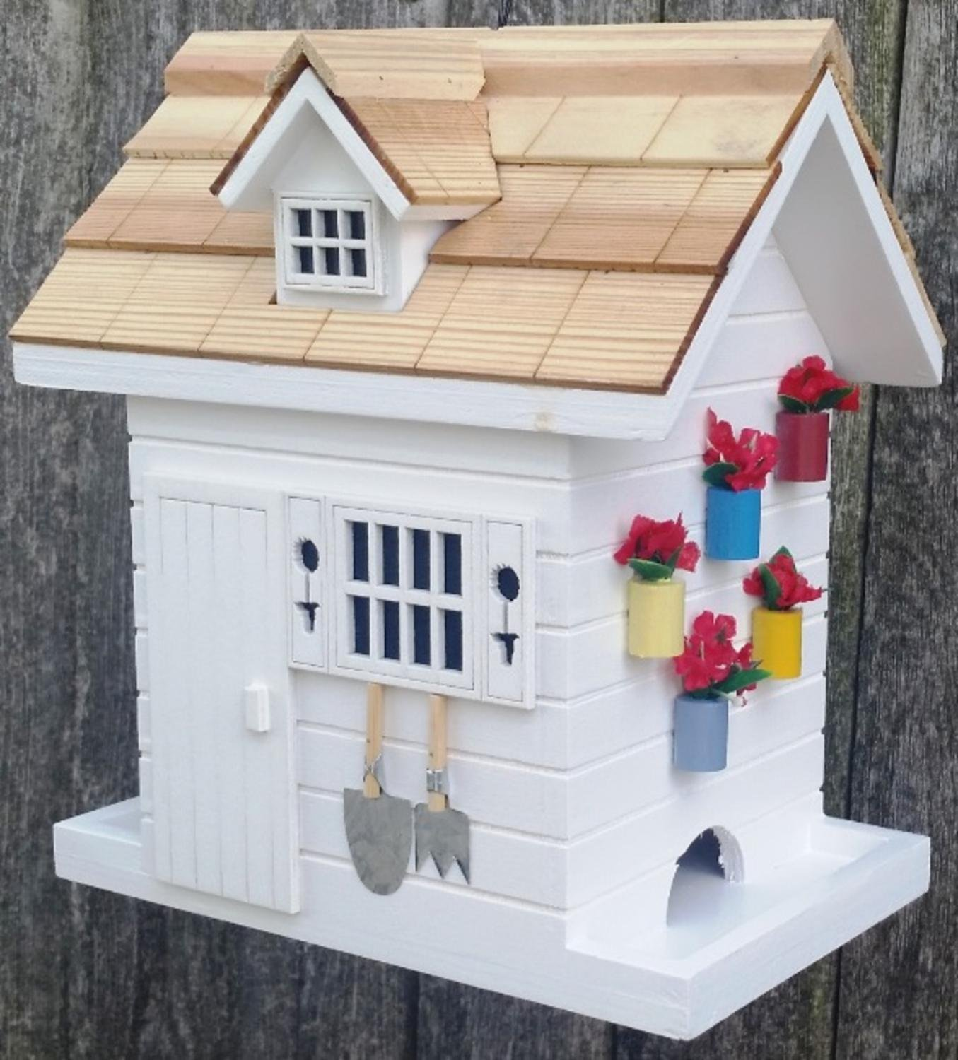 """8"""" Fully Functional White Wood Flower Shed Outdoor Garden Birdhouse"""