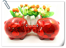 plastic piggy shaped money saving container