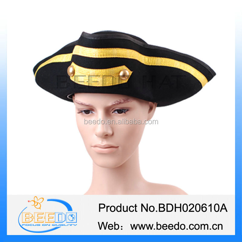 High quality 100% wool felt pirate hat with gold button and leather band