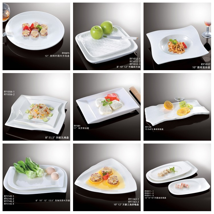 Fashion special design triangle shape white plate restaurant crockery dinner plate ceramic serving plates