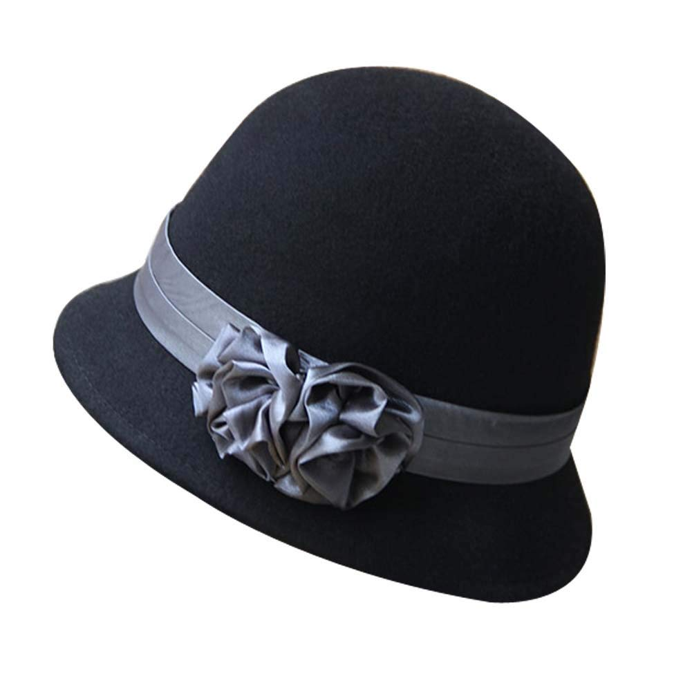 Get Quotations · Vintage Woolen Billycock Ribbon Flower Bowler Hat Fedora  Hat Derby e2402460e0d6