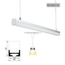 Factory supply W20*H11mm rectangle cover suspended klus selected aluminum led channel for led pendant light