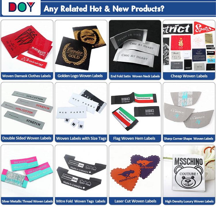 Custom Design Logo End Fold Golden Metallic Thread Damask Woven Clothing Labels for Garment Apparel