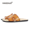 VIKEDUO Hand Made Custom Casual Shoes Style Slide Sandal Mens Genuine Leather Slippers For Summer Man