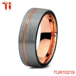 Dongguan Aohua Jewelry TUR10236 8mm Flat hot koa wood & turquoise silver inlay wedding tungsten ring blank