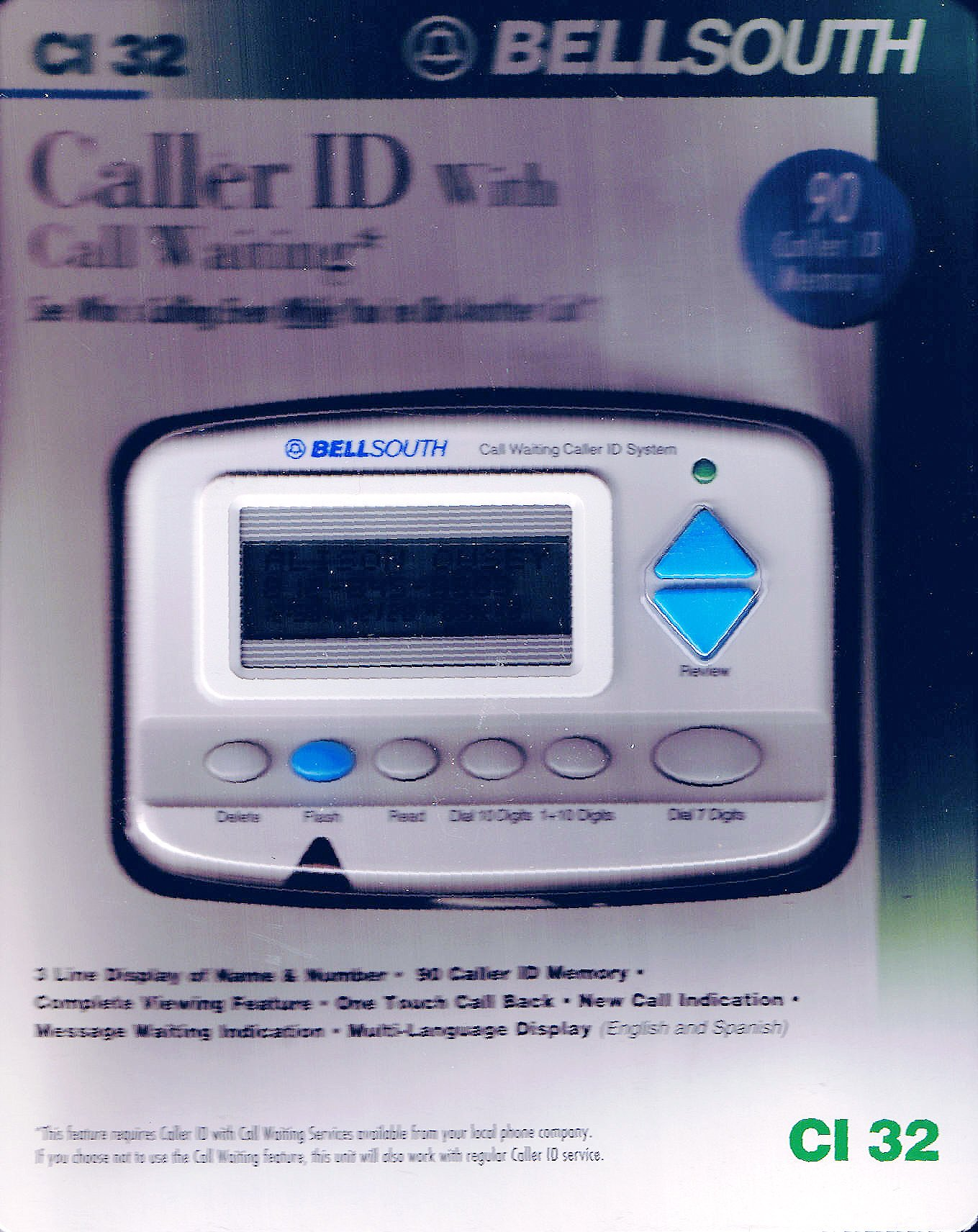 BellSouth Caller ID with Call Waiting CI-85LX English or Spanish Display