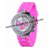 Promotional Silicone Fashion Girls Watch,Two Row Crystal Watch Style,Good Quality And Good Service