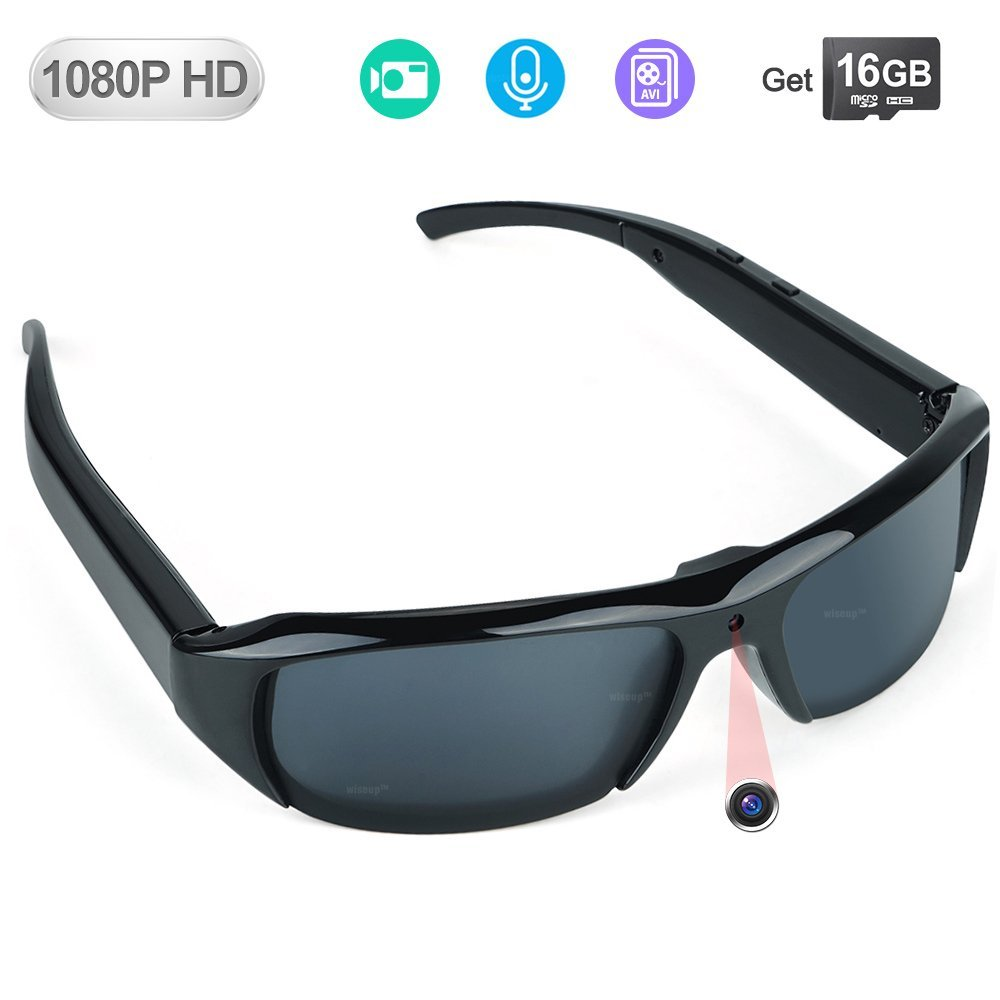 WISEUP 16GB 1920x1080P HD Sunglasses Hidden Eyewear Camera Mini DV Camcorder with Video Recording