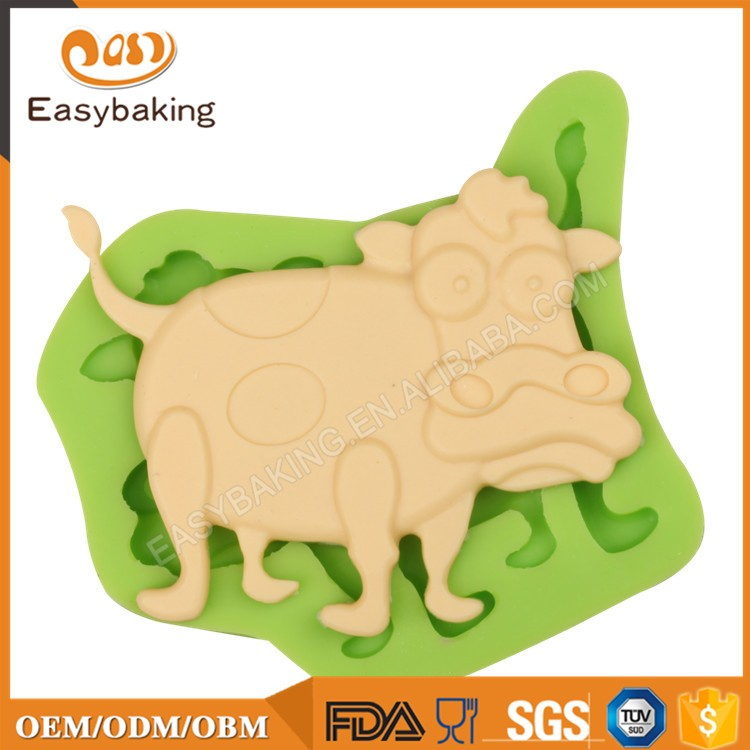 ES-0038 Cow Silicone Molds Fondant Mould for cake decorating