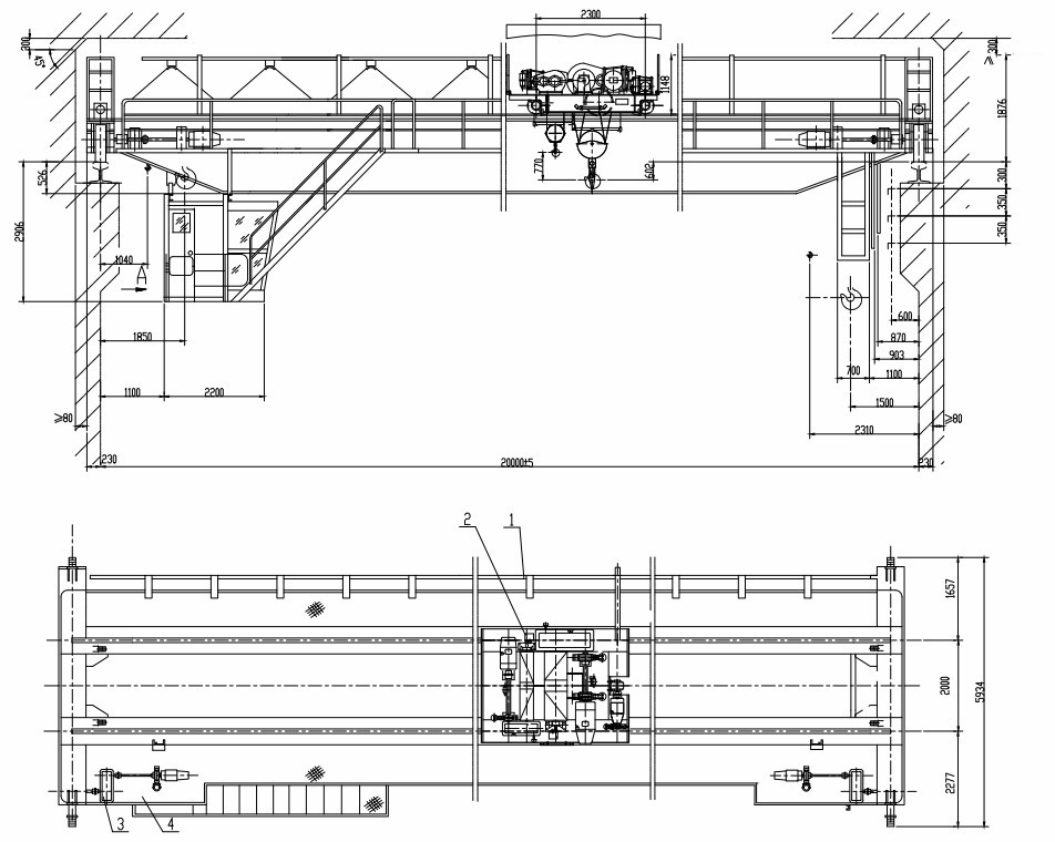 Overhead Crane Autocad Drawing : New series ton electric double beam overhead travelling