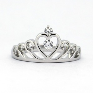 Genuine 925 Sterling Silver Crown Ring Queen Jewely For Women