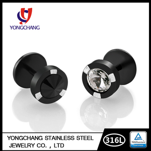 Medical Steel Titanium Black Round Cubic Zirconia Plain Stud Earrings