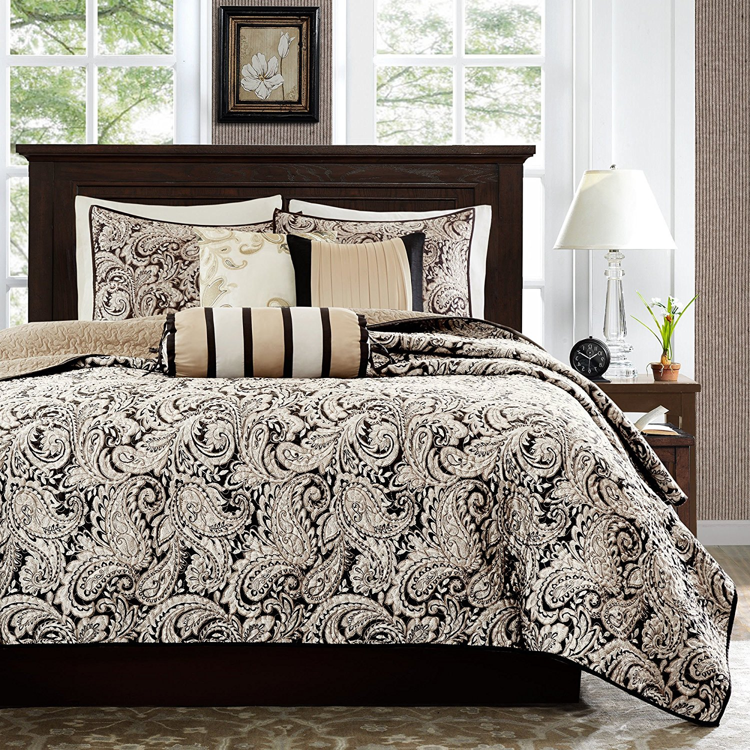 6 Pieces Reversible Black Jacquard King Cal King California Paisley Printed Quilted Coverlet Set, Beige White Adult Bedding Master Bedroom Casual Gorgeous Mandala Damask Elegant, Polyester