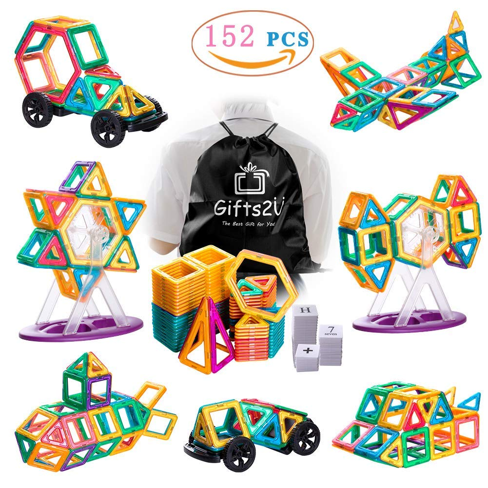 Gifts2U Magnetic Building Blocks Set-152PCS Creative Magnetic Tiles Building Kit Preschool Educational Construction Kit Magnet Stacking Toys for Kids Toddlers Boys Girls