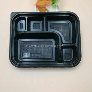 Black PP Material Plastic Meal Prep Food Storage Tray