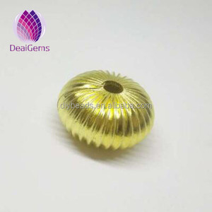 Wholesale spacer 18mm gold plated pumpkin brass beads for jewelry making