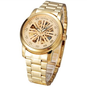 OEM stainless steel gold skeleton automatic watch men mechanical movement watches