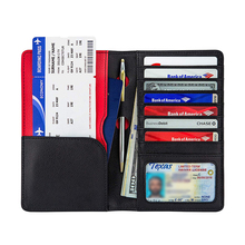 Echtes leder passport abdeckung Dokument Veranstalter RFID Passport Wallet Fall Familie custom travel passport wallet