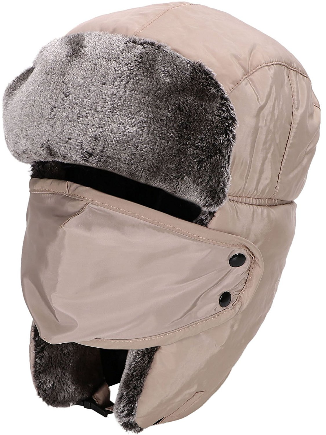 a3c923528fe141 Fashion Winter Men Women Warm Trapper Aviator Trooper Earflap Russian Ski  Hat Weatherproof (Khaki)