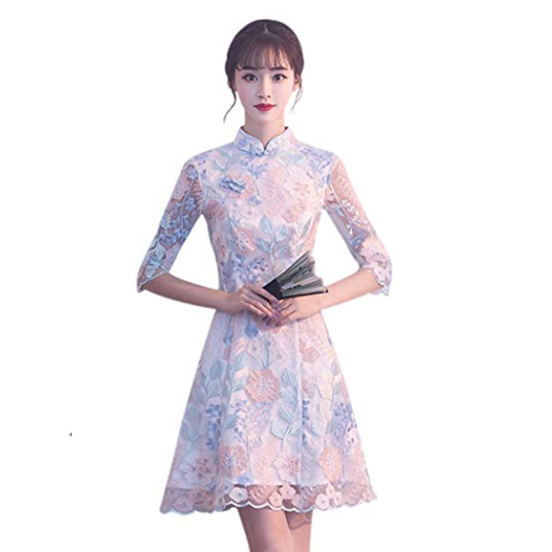 New Women's Cheongsam Chinese Style Elegant Embroidery Qipao Evening Party Dress