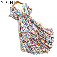 2018 Hot Sexy Deep V Neck Backless Beach Dress Print Floral Sleeveless Boho Dress