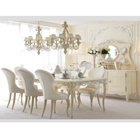 neoclassic Luxury Dining Room Furniture Set elegant white Dining Sets Furniture solid wood carved dining table chair