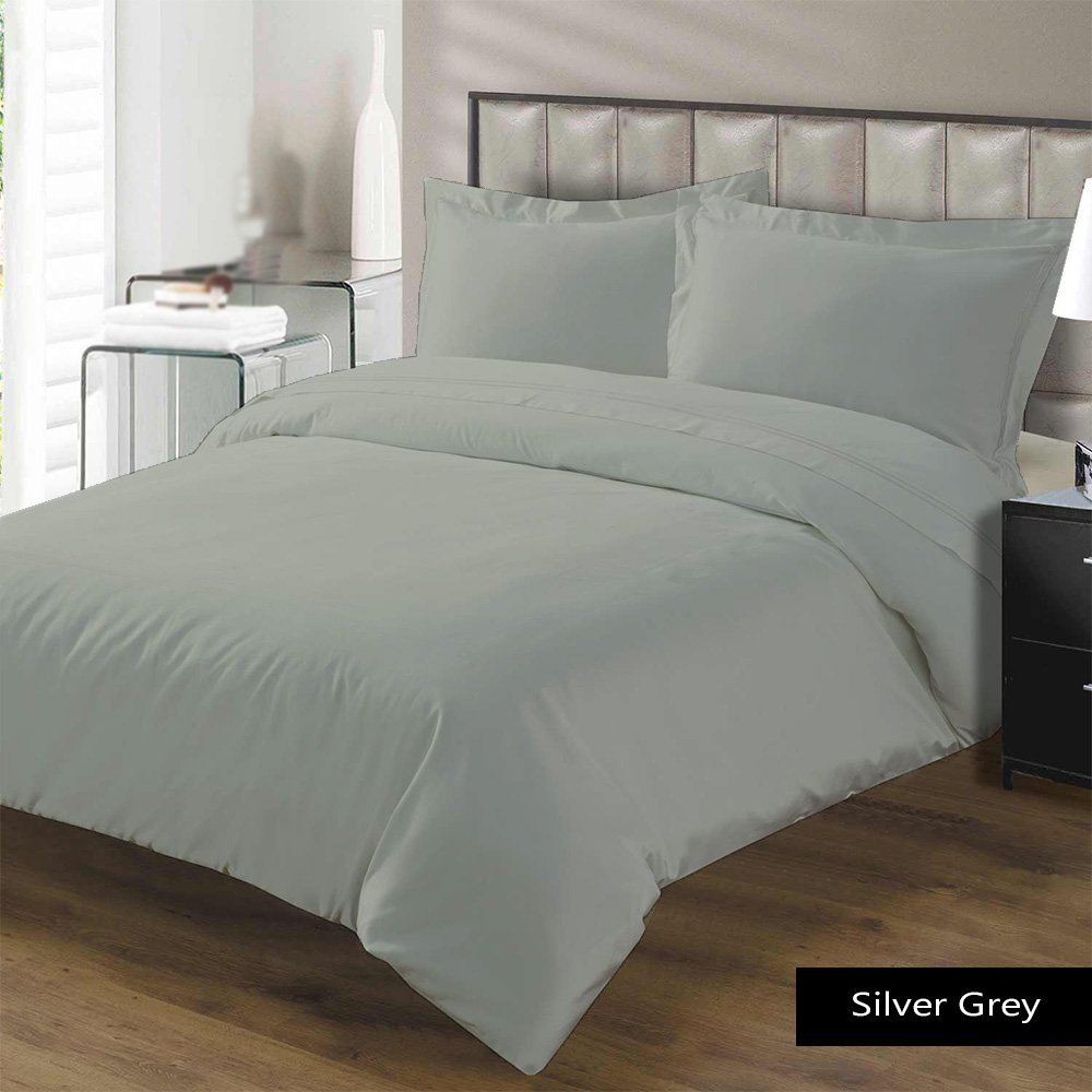 Luxury Sheets! Silver Grey Solid 600 Thread Count 4 Piece Queen Bed Sheet Set 100% Egyptian Cotton, Sateen Solid, 16 Inches Deep Pocket.