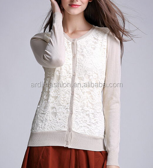 new design spring autumn crew neck full zip knitting ladies lace cardigan