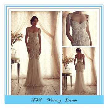 Latest French Style Open Back Wedding Dress Heavy Beaded Wedding ...