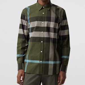 Custom design high quality solid dark green check men's casual dress shirt