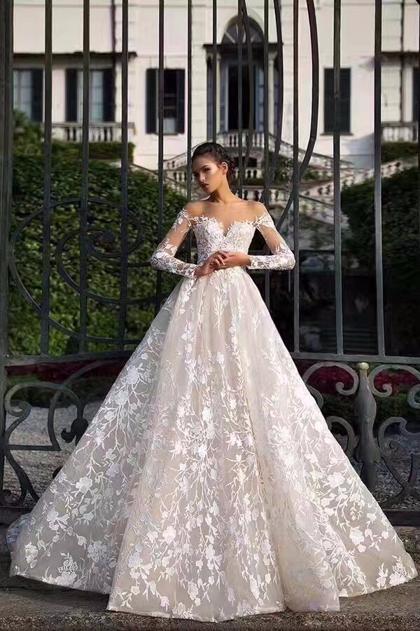 Nw1211 Unique Lace Romantic Off Shoulder Long Sleeves Wedding Dress ...