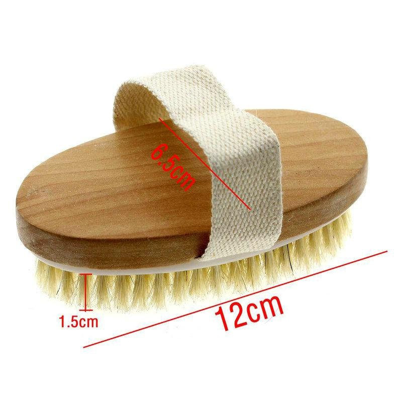 Wholesale Hot Sale Custom Logo Wood Handle Natural Boar Bristle Dry Skin Body Bath Brush With Hand Band