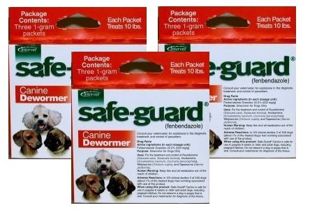 Excel Safe-Guard Canine DeWormer for Small Dogs Pack of 3 (9 pouches)