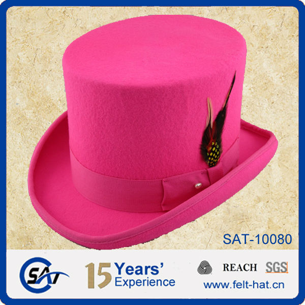 Men s Festival Pink 100% Wool Top Hat With Feather - Buy Wool Top ... fcb51633af6