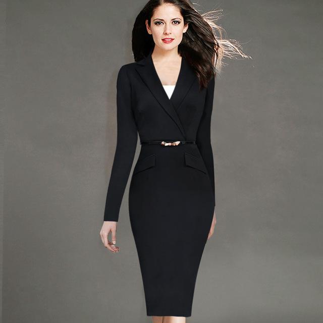 Rh Lady 4xl Notched Neck Formal Ladies Black Dress Womens Elegant