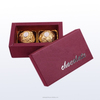 Wine red rectangular 2 piece chocolate/candy/cake box set of 2 box with logo silver hot foil and embossed in lids