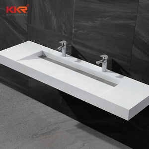 lavabo polish sink commercial marble bathroom trough sink with 2 faucets