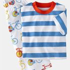 High quality kids cotton bule stripe tee boys summer simple baby clothing set