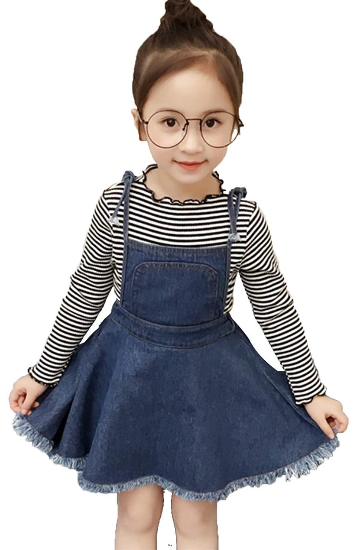 90f599c60c Get Quotations · Kids Toddler Girls Cute Outfit Set Striped Long Sleeve Tops  Denim Skirt Set