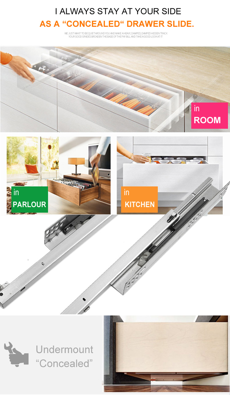 Push To Open Concealed Full Extension Clip On Undermount Drawer Slides For  Furniture Sc3310 - Buy Touch Open Drawer Runner,Drawer Slide