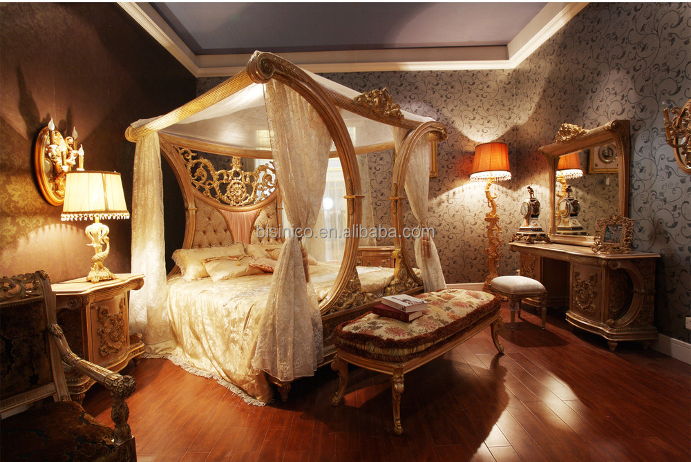 Luxury French Rococo Style Wood Carved Marquetry Canopy Bed Royal