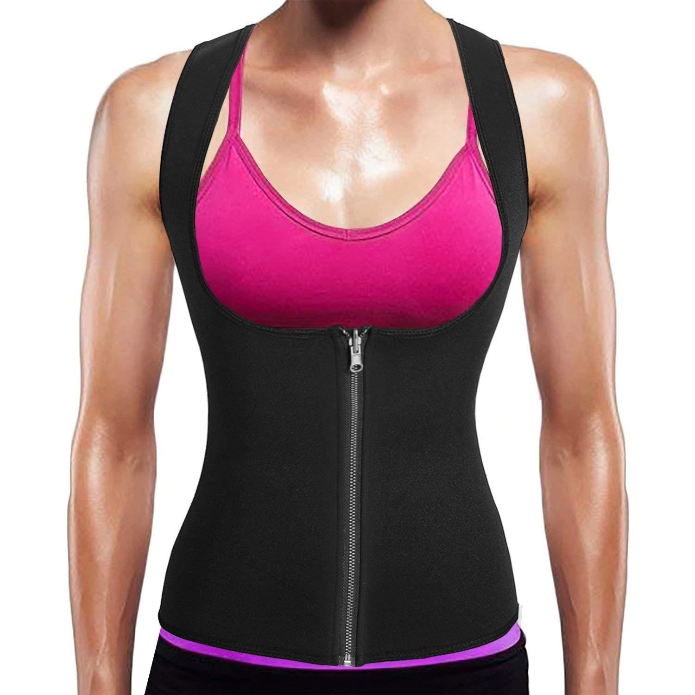 f91630d825 Get Quotations · BURUNST Waist Trainer Vest for Women - Neoprene Sauna Sweat  Body Shaper with Zipper for Weight
