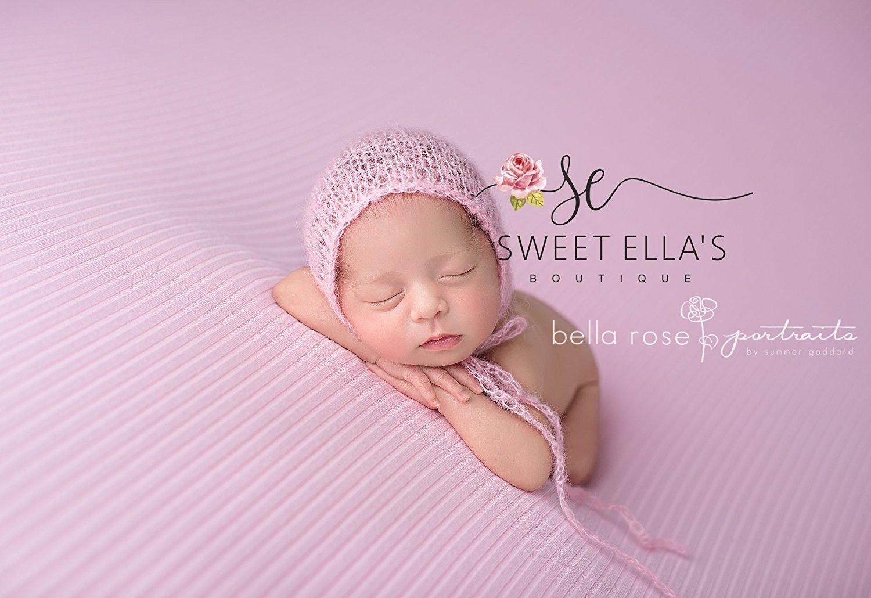Get Quotations · Light Pink Mohair Newborn Bonnet ec8701b8ac70