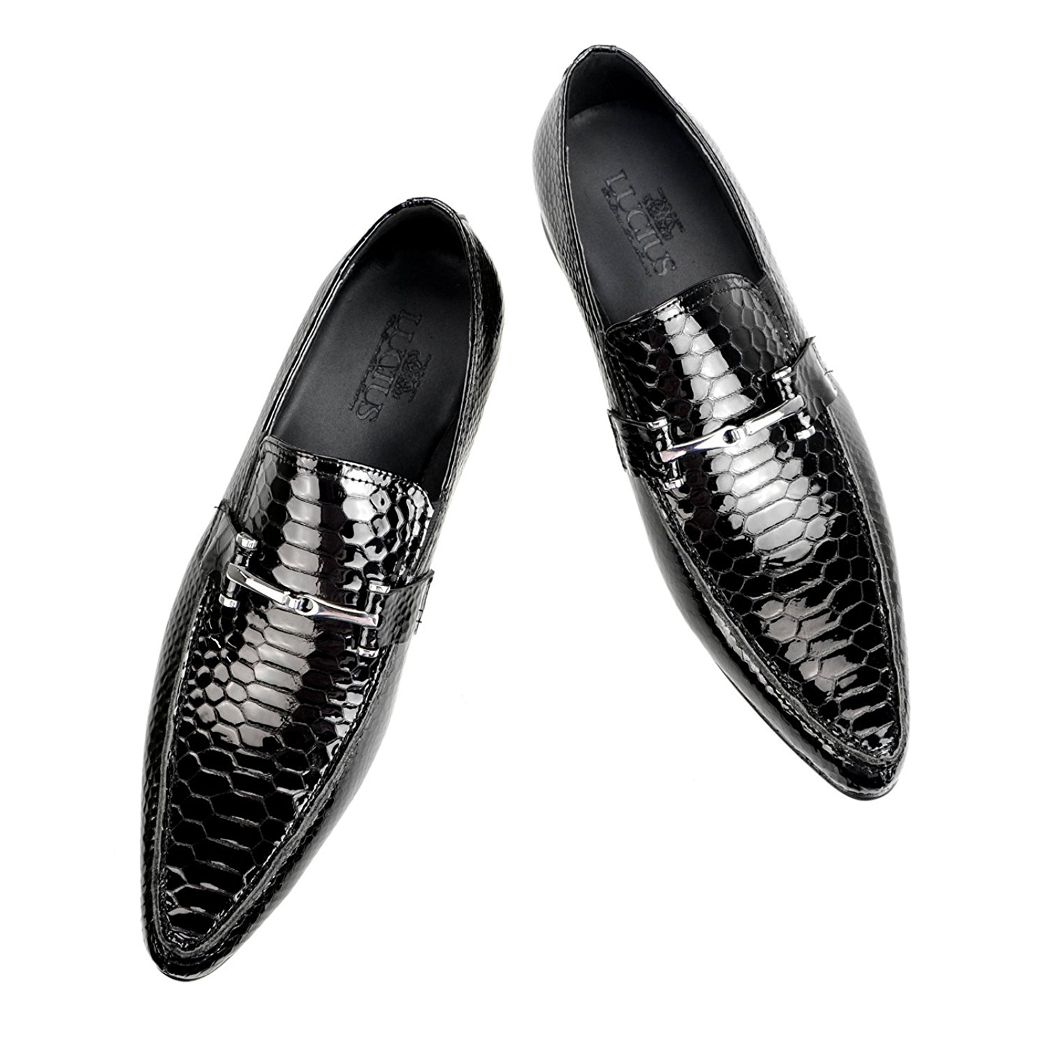 Lucius Leather Dress Shoes Lizard Embossing Bit Loafers Slip-on Opera Shoes Shoes Oxford Pointed Toe Men's Driving Shoes Deck Shoes Espadrille Wedge Low-Top Sneaker Black,44 EU (US Men's 10.5 M)
