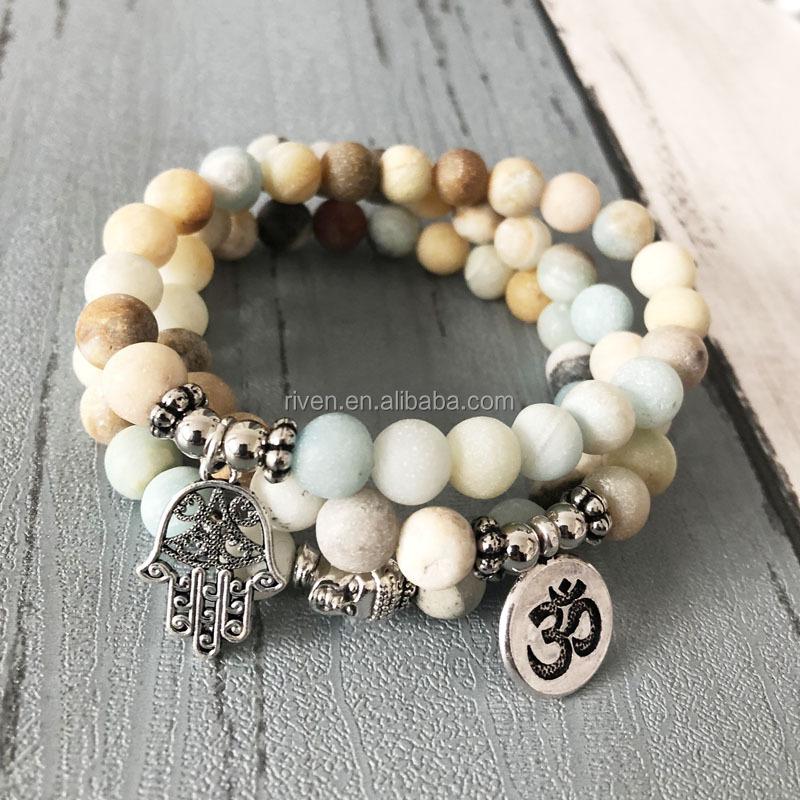 75354bb826f354 SN0957 Amazonite Bracelet Sets Men Stackable Matte Amazonite Beads Om Buddha  Hamsa Hand Charm Bracelet Yoga