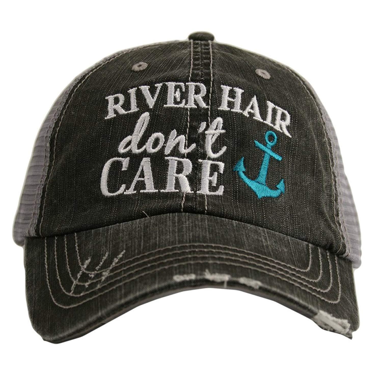 Katydid River Hair Don't Care Women's Distressed Grey Trucker Hat