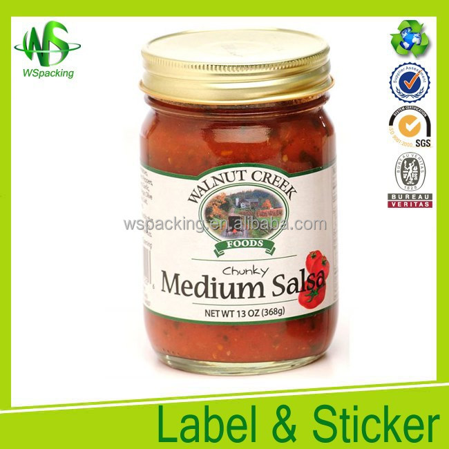 Food paper sticker self adhesive label bottle label printing