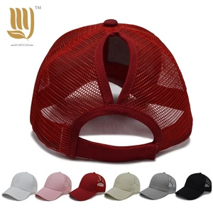 caabf21d757 Custom Ladies Hat Mesh Ponytail Trucker Hat 100% cotton 5-Panel Plain baseball  Trucker Cap From China