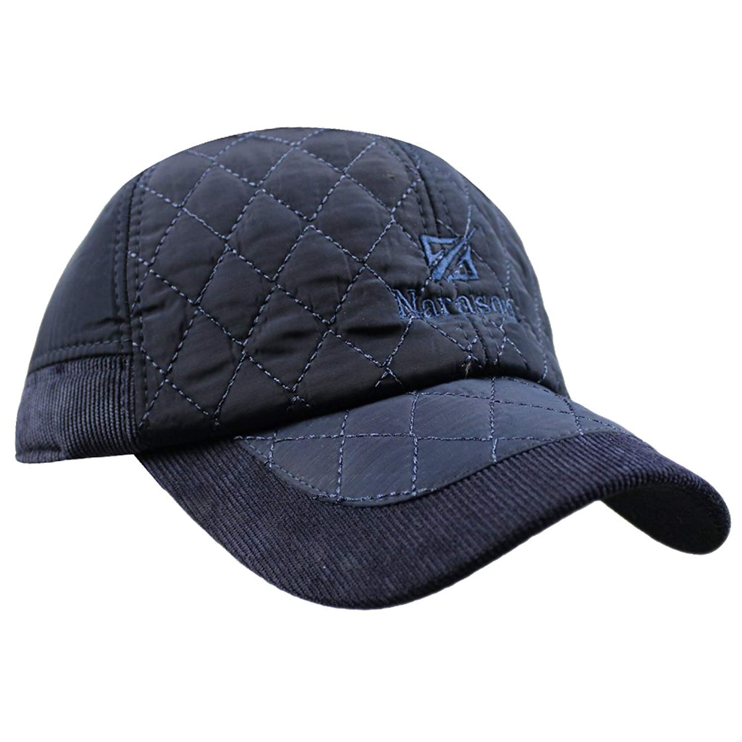 eYourlife2012 Men's Warm Cotton Padded Quilting Plaid Peaked Baseball Hat Cap with Ear Flap